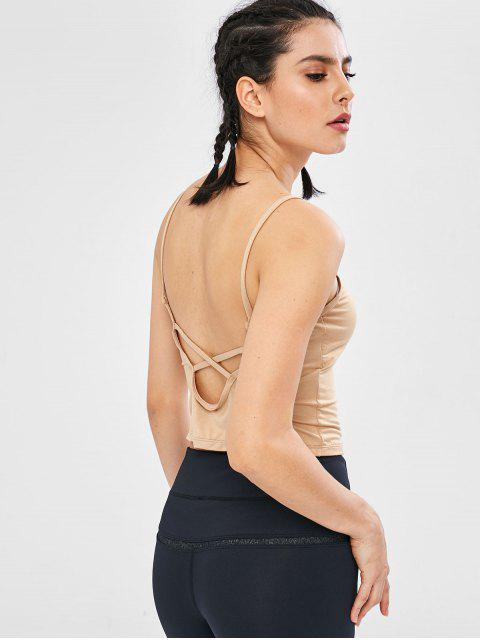 trendy ZAFUL Padded Criss Cross Crop Camisole - CHAMPAGNE M Mobile