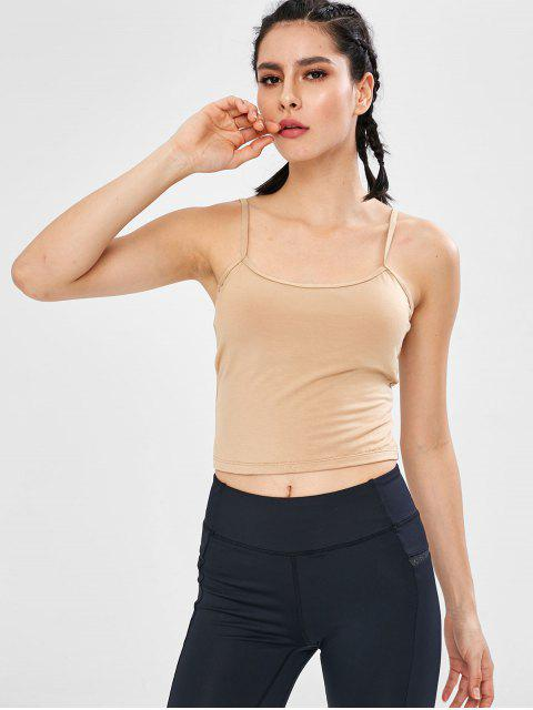 ZAFUL - Gepolsterte Leibchen mit Criss Cross Crop - Champagner S Mobile