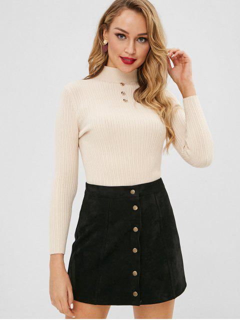unique Slim Buttoned Hollow Out Sweater - BLANCHED ALMOND ONE SIZE Mobile
