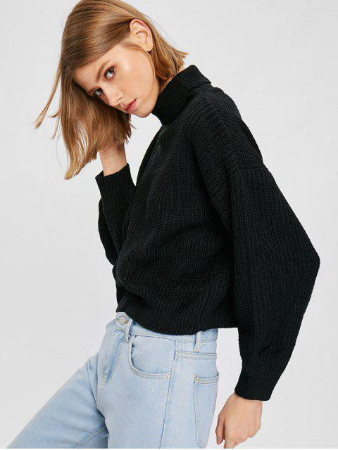 women's Knit Drop Shoulder Turtleneck Sweater - BLACK ONE SIZE Mobile
