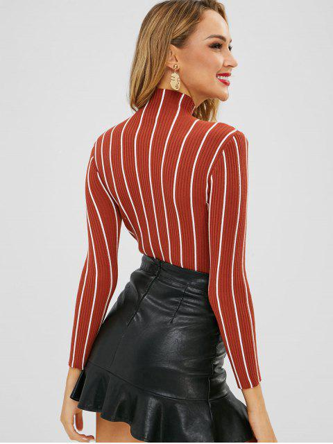 unique Slim Ribbed Striped Knit Sweater - MULTI-A ONE SIZE Mobile