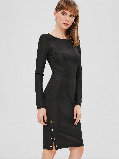 chic ZAFUL Long Sleeve Bodycon Tight Dress - BLACK L Mobile