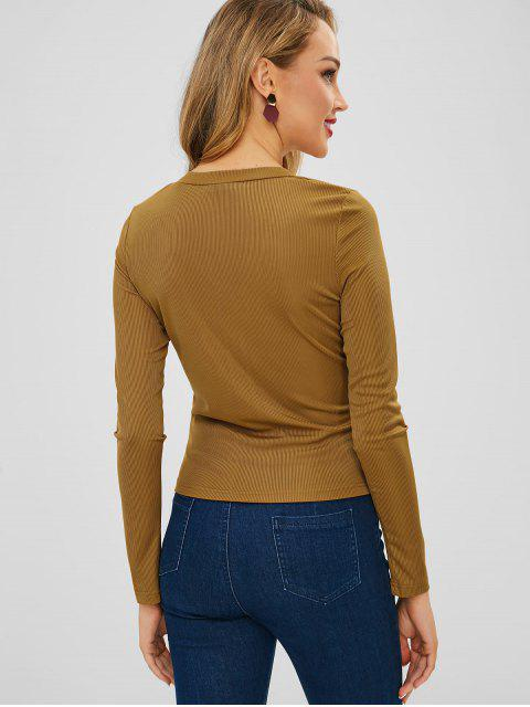 outfits ZAFUL Plunge Long Sleeve Buttoned Tee - BROWN L Mobile