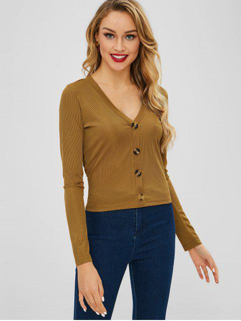 shop ZAFUL Plunge Long Sleeve Buttoned Tee - BROWN XL Mobile