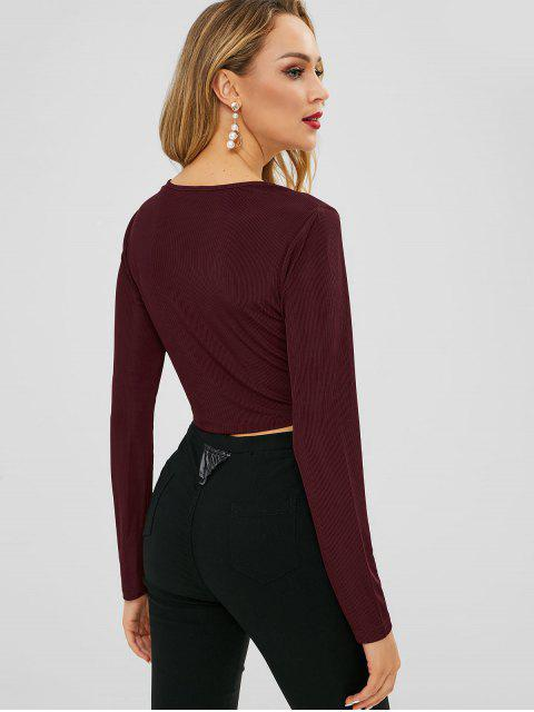 online ZAFUL Crop Long Sleeve Plunge Tee - RED WINE L Mobile