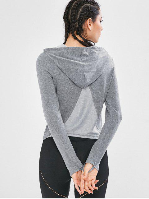 Top deportivo con capucha y paneles - Gris Oscuro L Mobile
