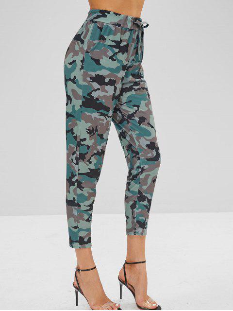 Pantalones de camuflaje de cintura con cordón - Multicolor-A L Mobile