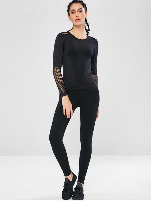 Haut de Sport Panneau en Maille Sans Couture à Manches Longues - Noir M Mobile