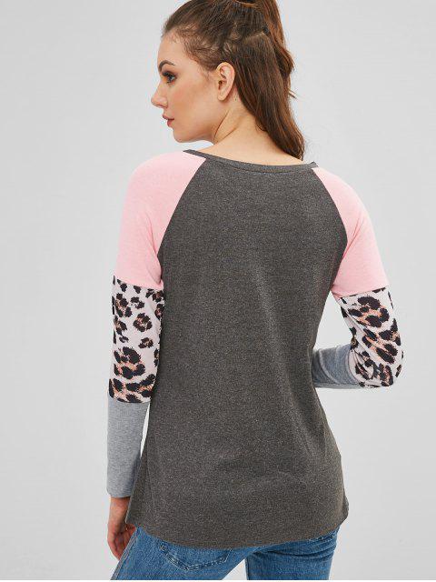 outfit Leopard Raglan Sleeve T-shirt - MULTI-A L Mobile