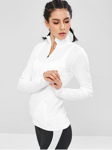 Taschen Seamless Zip Up Sport-Laufjacke - Weiß M Mobile