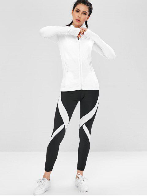 Taschen Seamless Zip Up Sport-Laufjacke - Weiß L Mobile