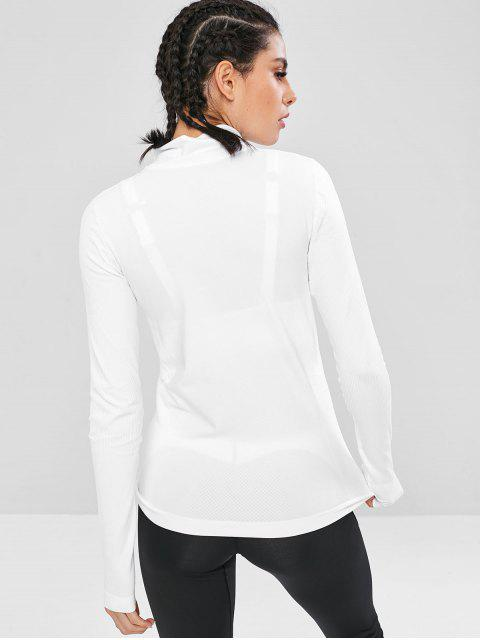 trendy Pockets Seamless Zip Up Sports Running Jacket - WHITE L Mobile