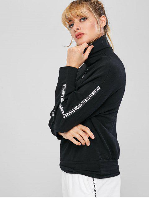 sale Zipped Graphic Sleeve Pullover Sweatshirt - BLACK M Mobile
