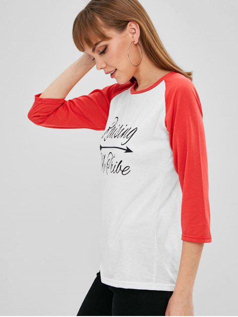 lady Letter Graphic Baseball Tee - WHITE S Mobile