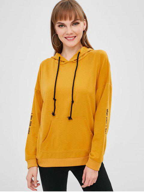 chic Kangaroo Pocket Tunic Hoodie - ORANGE GOLD XL Mobile