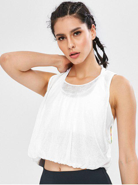 fancy Overlay Crop Gym Tank Top - WHITE L Mobile