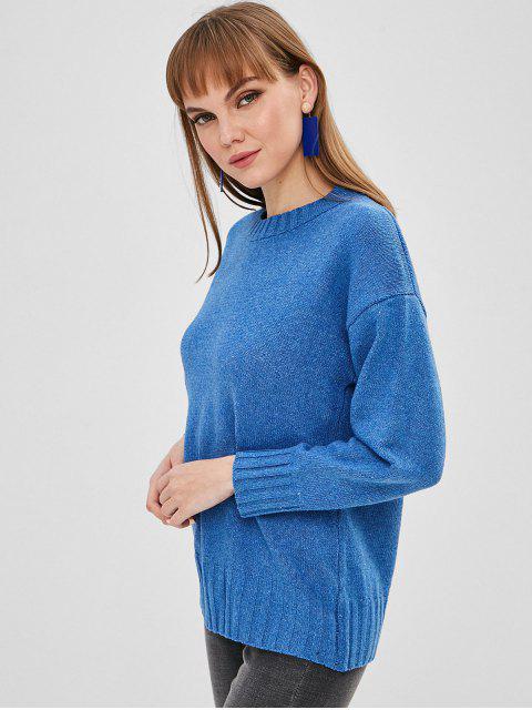 outfit Drop Shoulder Plain Loose Sweater - CORNFLOWER BLUE ONE SIZE Mobile