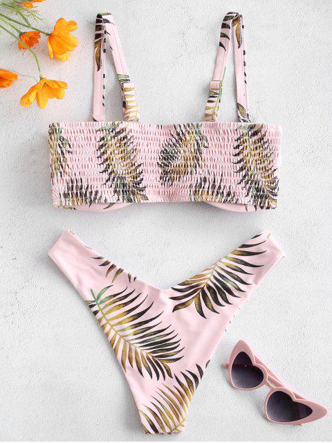 outfits ZAFUL Leaf Print Shirred Convertible Bikini Set - SAKURA PINK M Mobile
