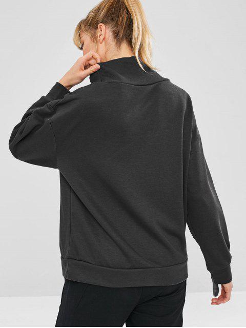 Terry - Übergroßes Sweatshirt mit hohem Kragen - Schwarz M Mobile