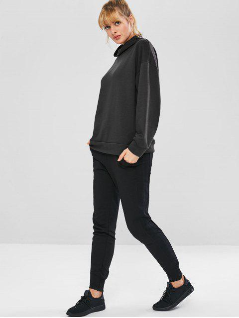 fashion High Collar Terry Oversized Sweatshirt - BLACK L Mobile