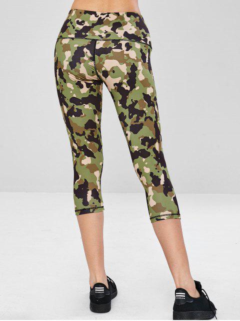 Legging Capri de Gym Camouflage à Taille Large - ACU Camouflage L Mobile