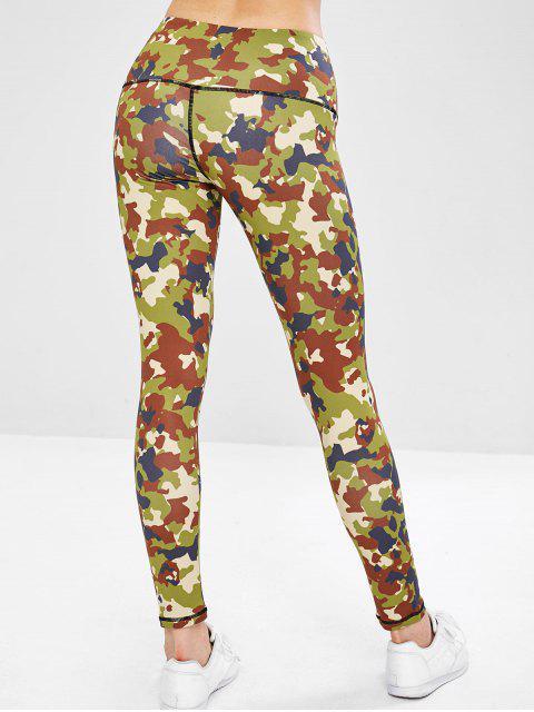 Legging de Gym de Yoga Camouflage à Taille Large - ACU Camouflage L Mobile