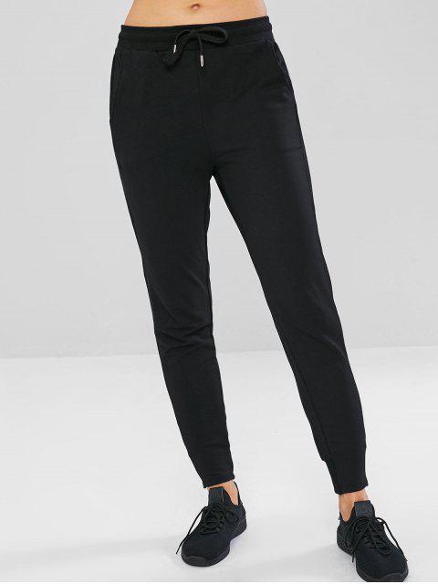 hot Pocket Drawstring Sport Pants - BLACK XL Mobile