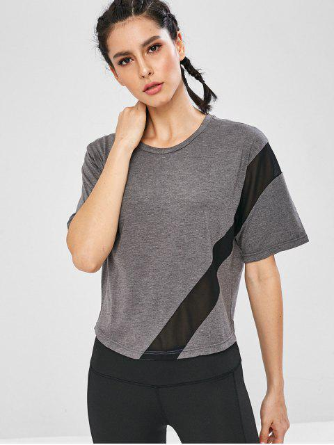 lady Mesh Paneled Relaxed Gym Tee - DARK GRAY L Mobile