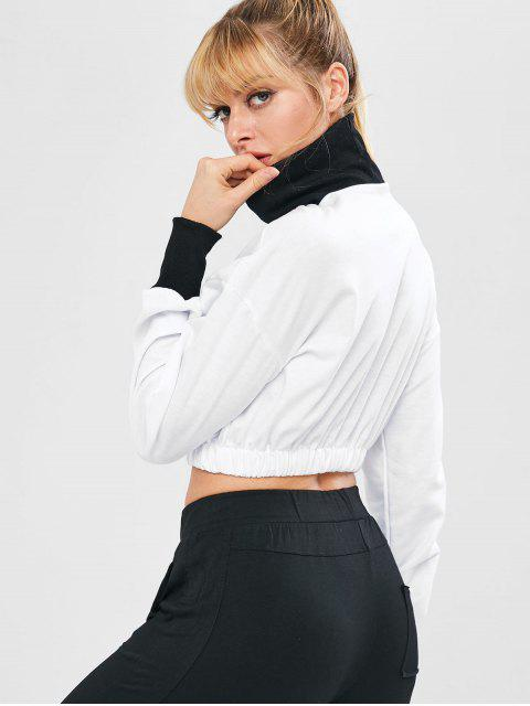outfits Contrasting High Collar Graphic Crop Sweatshirt - WHITE L Mobile