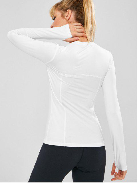 Top deportivo de manga larga perforado - Blanco M Mobile