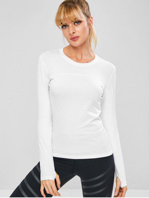 womens Long Sleeve Perforated Sports Top - WHITE L Mobile