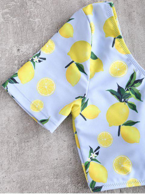shops ZAFUL Lemon Print One Shoulder Bikini Set - WHITE M Mobile