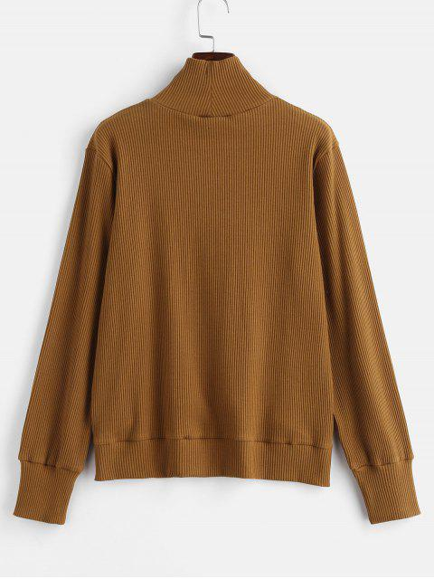 buy Funnel Ribbed Sweater - LIGHT BROWN S Mobile