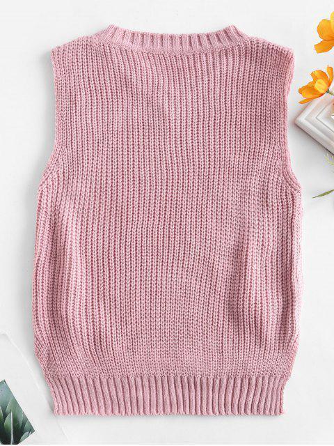 Pull Haut Bas à Lacets - Rose Rosé Taille Unique Mobile