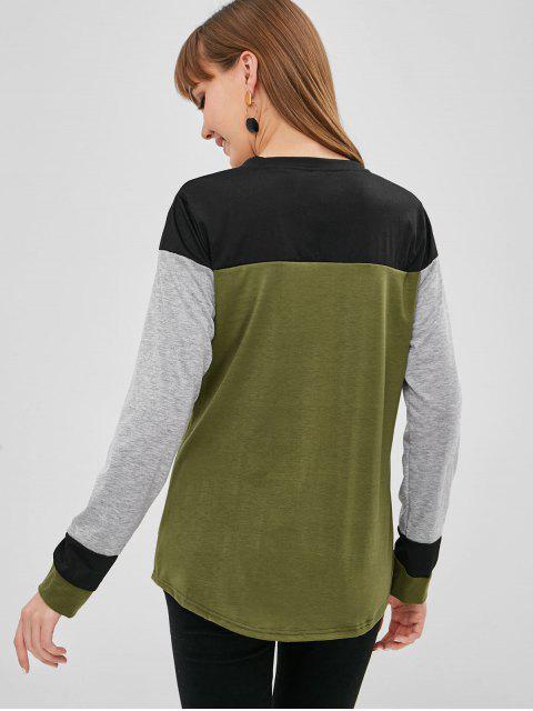 T-shirt en Blocs de Couleurs à Manches Longues - Multi-A S Mobile