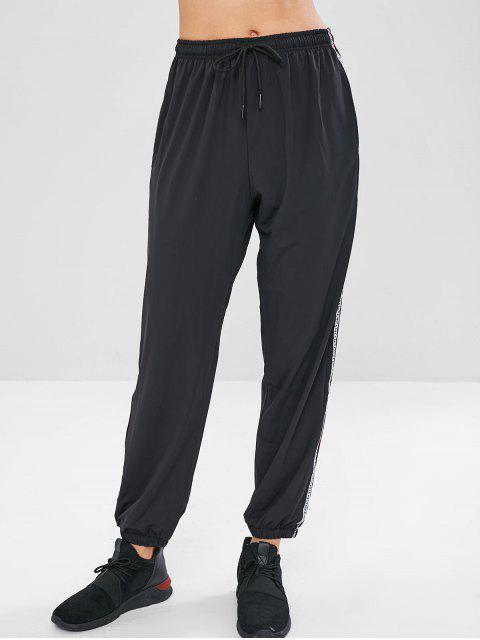 unique Drawstring Letter Jogger Pants - BLACK L Mobile