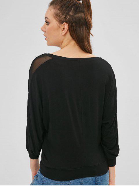 T-shirt Panneau en Maille à Manches Chauve-souris - Noir S Mobile
