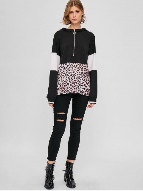 womens Leopard Color Block Half Zip Hoodie - MULTI ONE SIZE Mobile