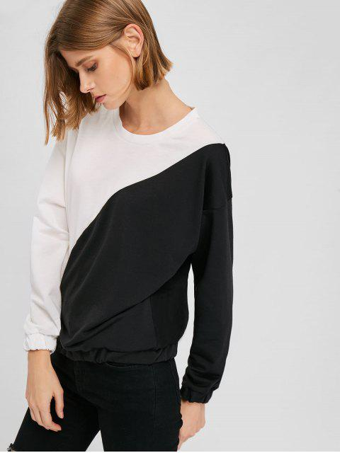 outfit Loose Drop Shoulder Two Tone Sweatshirt - WHITE ONE SIZE Mobile