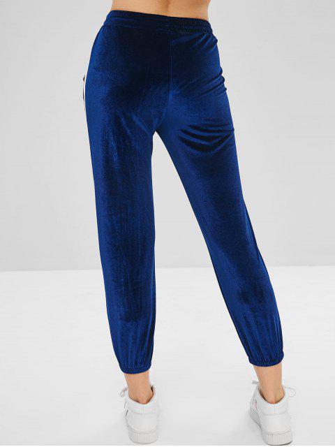 buy Velvet Two Tone Drawstring Pants - BLUEBERRY BLUE L Mobile