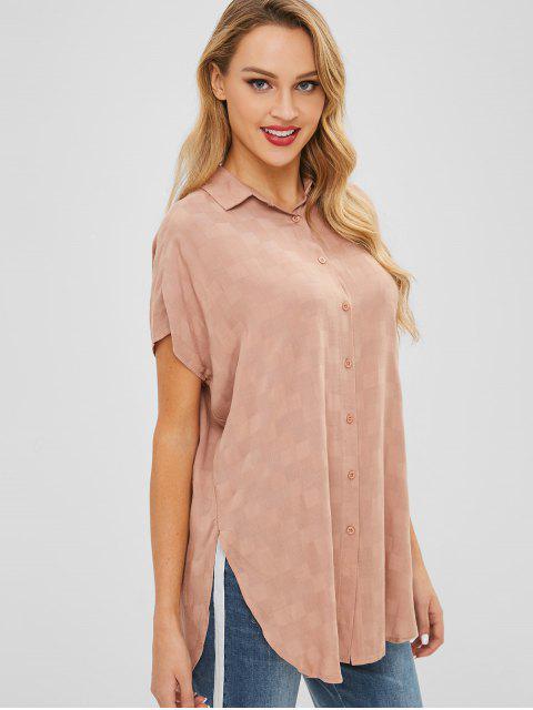 sale Slit Longline Shirt - TAN L Mobile