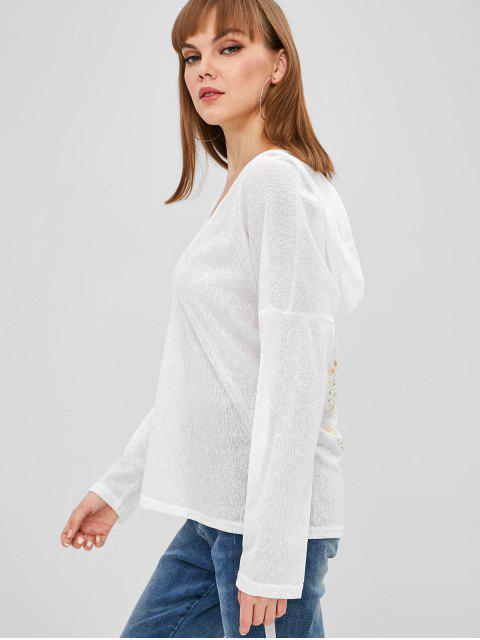 outfits Hooded Long Sleeve Stars Top - WHITE 2XL Mobile