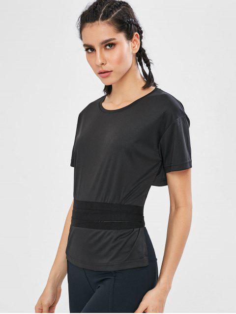 Kurzärmliges Wickelbund Taille Gym T-Shirt - Schwarz M Mobile