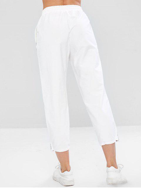 womens Letter Drawstring Hem Pocket Pants - WHITE XL Mobile