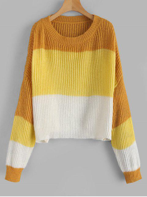 best ZAFUL Oversized Stripes Sweater - MULTI-C ONE SIZE Mobile