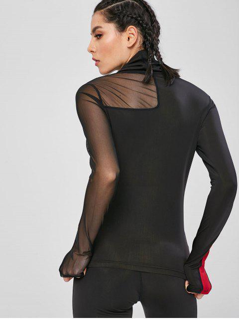 Camiseta de deporte de gimnasio con panel de malla de cuello alto - Negro L Mobile