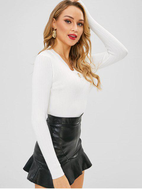 ladies Brooch Embellished V Neck Knit Top - WHITE ONE SIZE Mobile