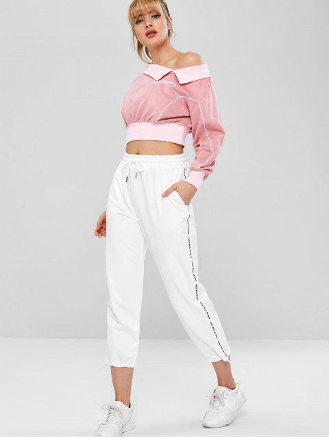 Foldover Faux Suede Pullover Sweatshirt - Rosa L Mobile