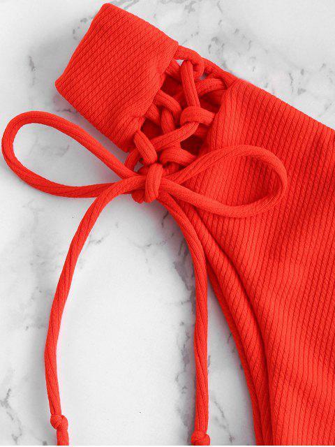 unique ZAFUL Ribbed Lace Up Tied Bikini Set - BRIGHT ORANGE L Mobile
