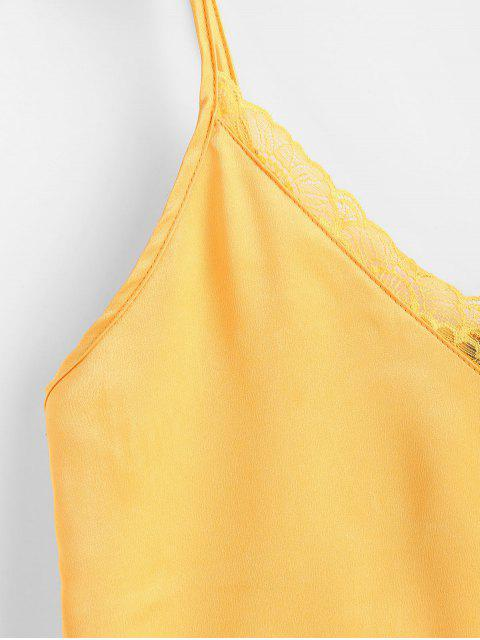 buy ZAFUL Satin Lace Panel Cami Top - MUSTARD S Mobile